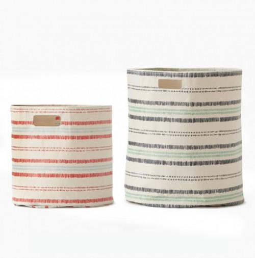 Dashed Canvas Hamper & Storage Bin
